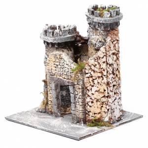 Château en résine et liège crèche napolitaine 21x19x17 cm s2