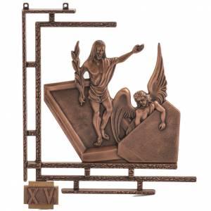Chemin de Croix 15 stations bronze ramé petite croix bois s1