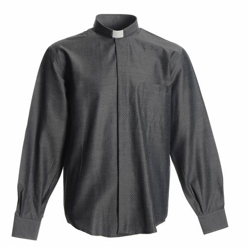 Chemise clergy coton polyester gris s1
