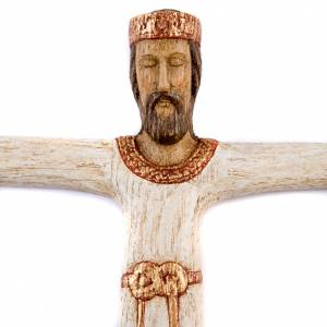 Wooden crucifixes: Christ Priest and King with white dress in wood