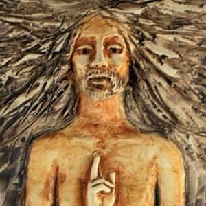 Chemin de Croix: Christ ressuscité 15ème station, majolique sur bois cerisier