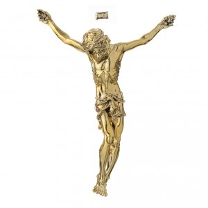 Reconstituted marble religious statues: Christ's body in marble dust finished in gold