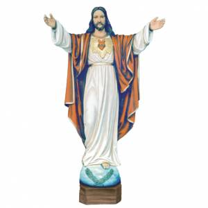 Reconstituted marble religious statues: Christ the Redeemer statue 100cm in painted reconstituted marble