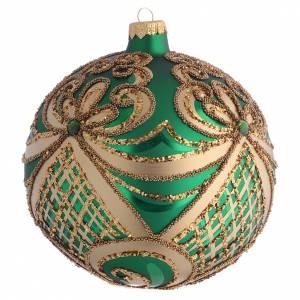 Christmas balls: Christmas Bauble green and gold 15cm