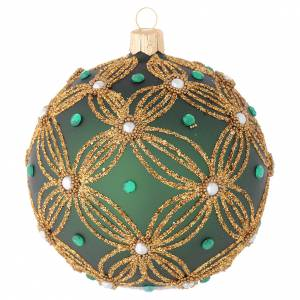 Christmas balls: Christmas bauble in green blown glass with gold decoration 100mm