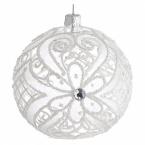 Christmas Bauble matte white and transparent 10cm s1