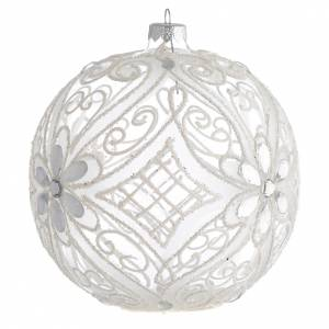Christmas Bauble matte white and transparent 15cm s2