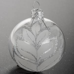 Christmas blown glass ball ornament with glitter 6cm s4