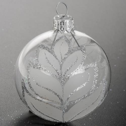 Christmas blown glass ball ornament with glitter 6cm 4