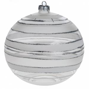 Christmas blown glass bauble with silver decorations 15cm s1
