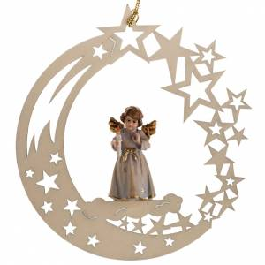 Christmas tree ornaments in wood and pvc: Christmas decor angel with candle star