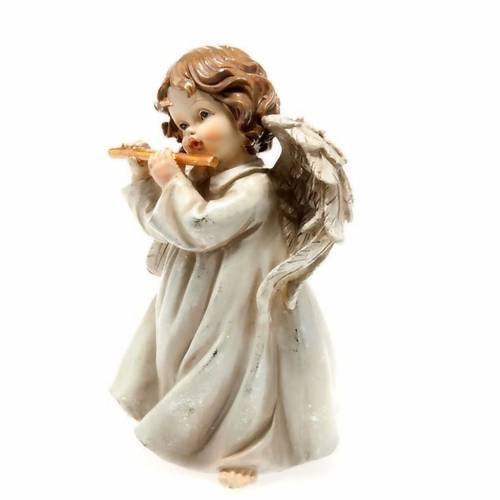 Christmas decoration, musician angel transverse flute white s2