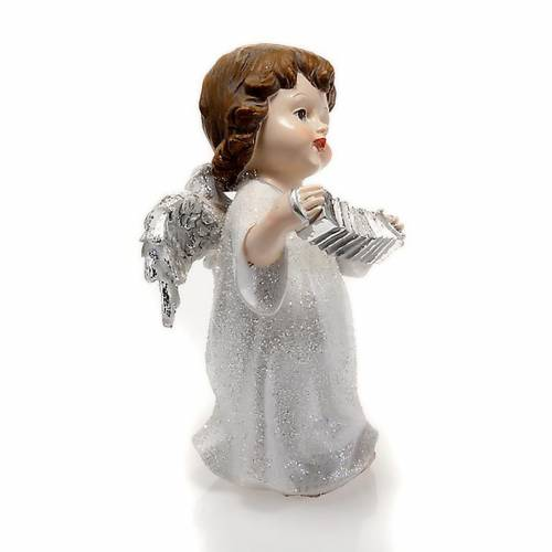 Christmas decoration white angel with accordion 14 cm figurine s2