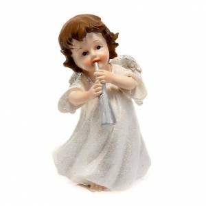 Christmas decoration, white angel with trumpet 14 cm figurine s1
