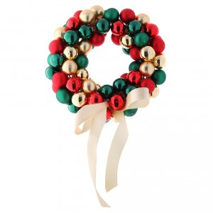 Christmas balls: Christmas garland of glass balls red gold and green 30 cm