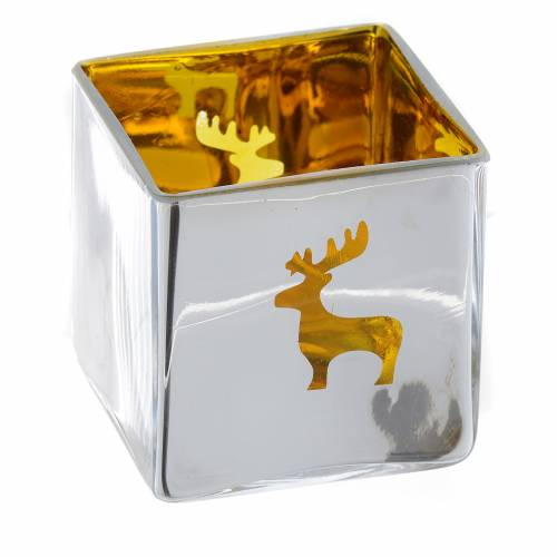 Christmas Tea light holder, square with yellow decoration s1