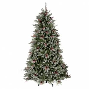 Artificial Christmas trees: Christmas tree 210 cm, flocked Dunhil with pine cones and berries