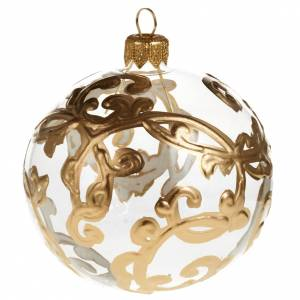 Christmas tree bauble glass with golden decorations, 8cm s1