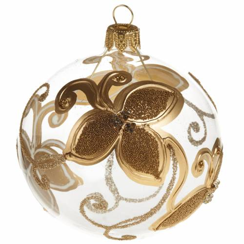 Christmas tree bauble in glass with gold flower 8cm s1