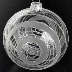 Christmas balls: Christmas tree bauble in glass with silver decor 8cm