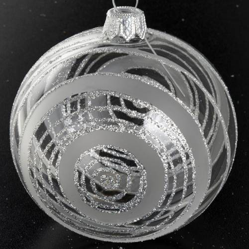 Christmas tree bauble in glass with silver decor 8cm s2