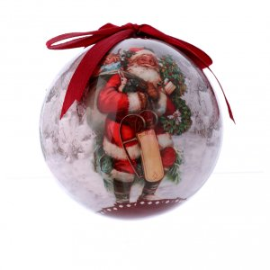 Christmas tree ornaments in wood and pvc: Christmas tree bauble Santa Claus image 75 mm