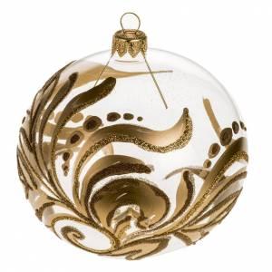 Christmas tree bauble, transparent glass golden decorations 10cm s1
