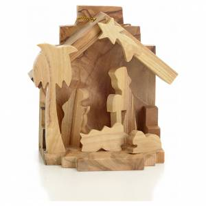 Christmas tree ornaments in wood and pvc: Christmas tree decoration, nativity, in Holy Land olive wood