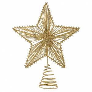 Christmas tree ornaments in wood and pvc: Christmas Tree topper, 25cm golden star
