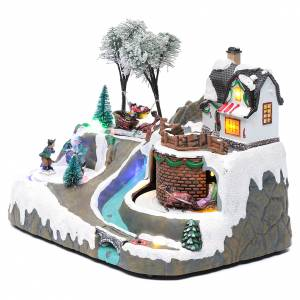 Christmas villages sets: Christmas village with music 20x25x20 cm with moving children ice skating