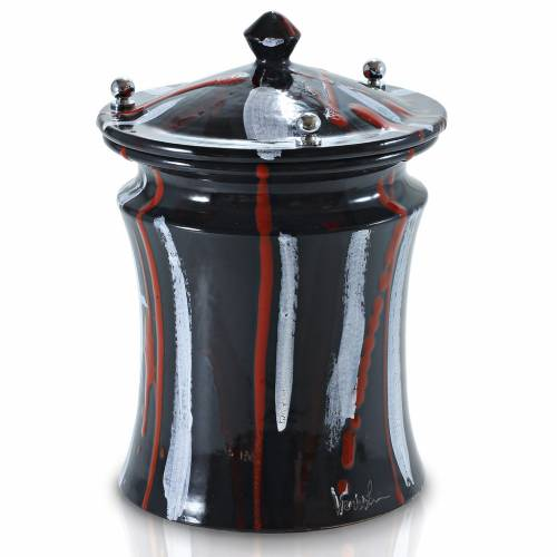 Cinerary urn in ceramic with pommels, brass, black brush strokes s1