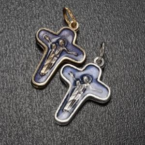 Pendenti croce metallo: Ciondolo croce metallo 25 mm smalto blu Maria e Cristo