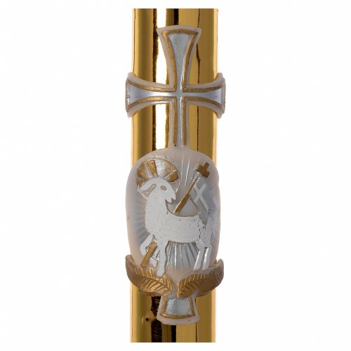 Cirio Pascual cera blanca cordero cruz fundo dorado 8x120 cm s2