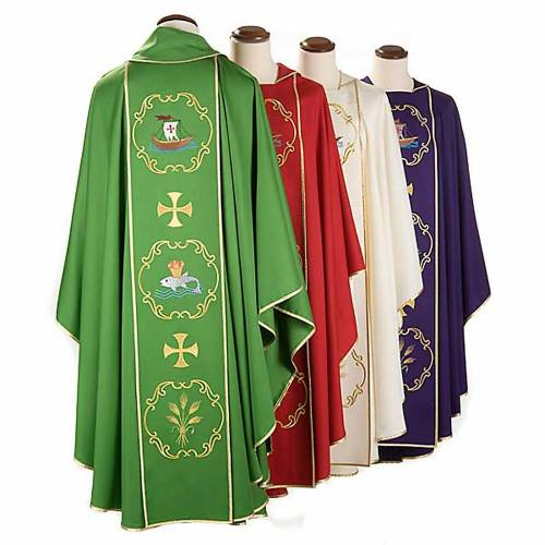 Clergy chasuble in 100% wool, boat & fish and chalice s2