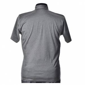 Clergy polo shirt short sleeves light grey lisle thread s3
