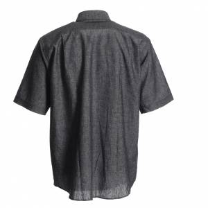 Clergy Shirts: Clergy shirt in grey linen and cotton
