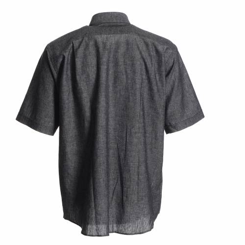 Clergy shirt in grey linen and cotton s2
