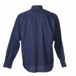 Clergy Shirts: Clergy shirt Long sleeves easy-iron mixed cotton Blue
