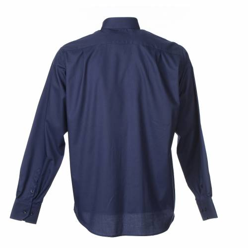 Clergy shirt Long sleeves easy-iron mixed cotton Blue s2