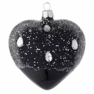 Coeur décoratif en verre noir et paillettes 100 mm s2