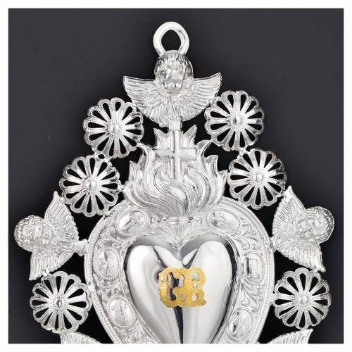 Coeur votif flamme croix ange 13x20 cm s2