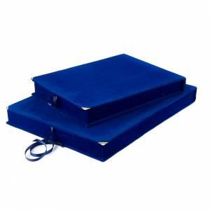 Étuis et chevalet pour icônes et tableaux: Coffret, velours bleu, intérieur en satin