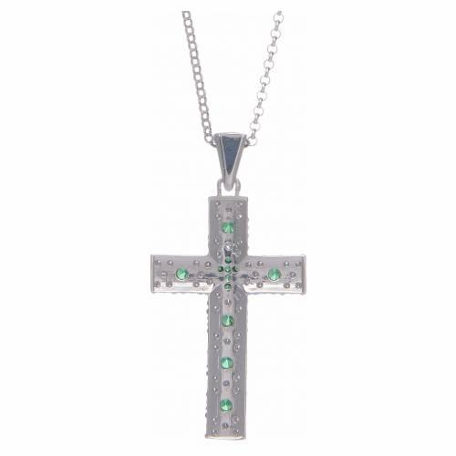 Collana Amen Croce Argento Rodiato zirconi Verdi s2