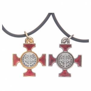 Pendenti croce metallo: Collana croce San Benedetto celtica rossa 2x2