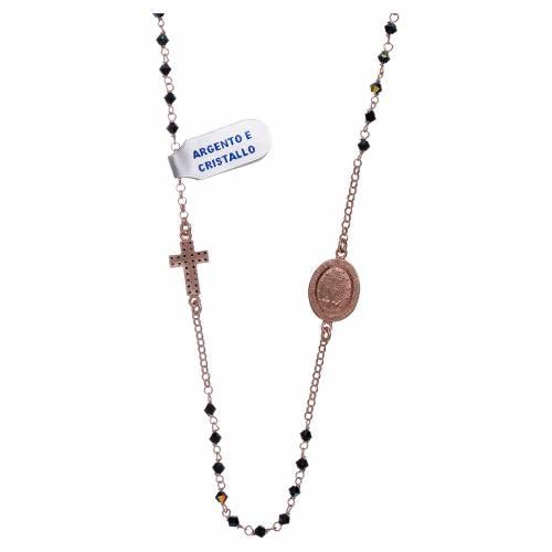 Collana medaglia Miracolosa croce zirconi argento 925 rosé s2