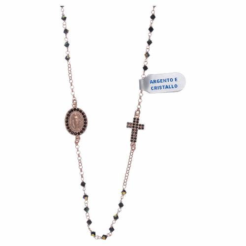 Collana medaglia Miracolosa croce zirconi argento 925 rosé s1