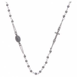 Pendenti, croci, spille, catenelle: Collana rosario girocollo AMEN pavè argento 925 fin. Rodio