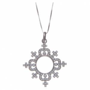 Colgantes, cruces y broches: Collar AMEN Corona Plata