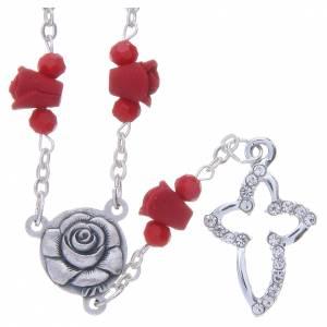 Rosarios y Porta Rosarios Medjugorje: Collar rosario Medjugorje rojo rosas cerámica cuentas cristal