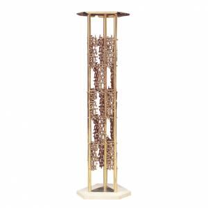Colonna per tabernacolo ottone fuso base marmo s1